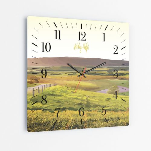 Rolling Hills Yellow - Square Glass Clock